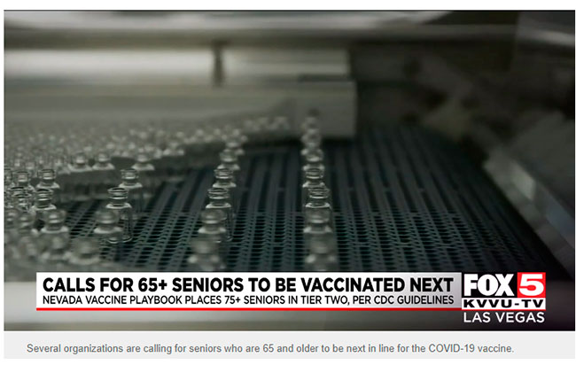 Nevada Senior Services - Adult Day Care Centers of Las Vegas and Henderson - Fox 5 Vegas Jeff Klein Interview - Senior advocates push to move 65 to 74- year-olds higher in vaccine priority